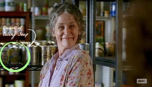 Carol in the pantry choosing Cream of Celery Soup