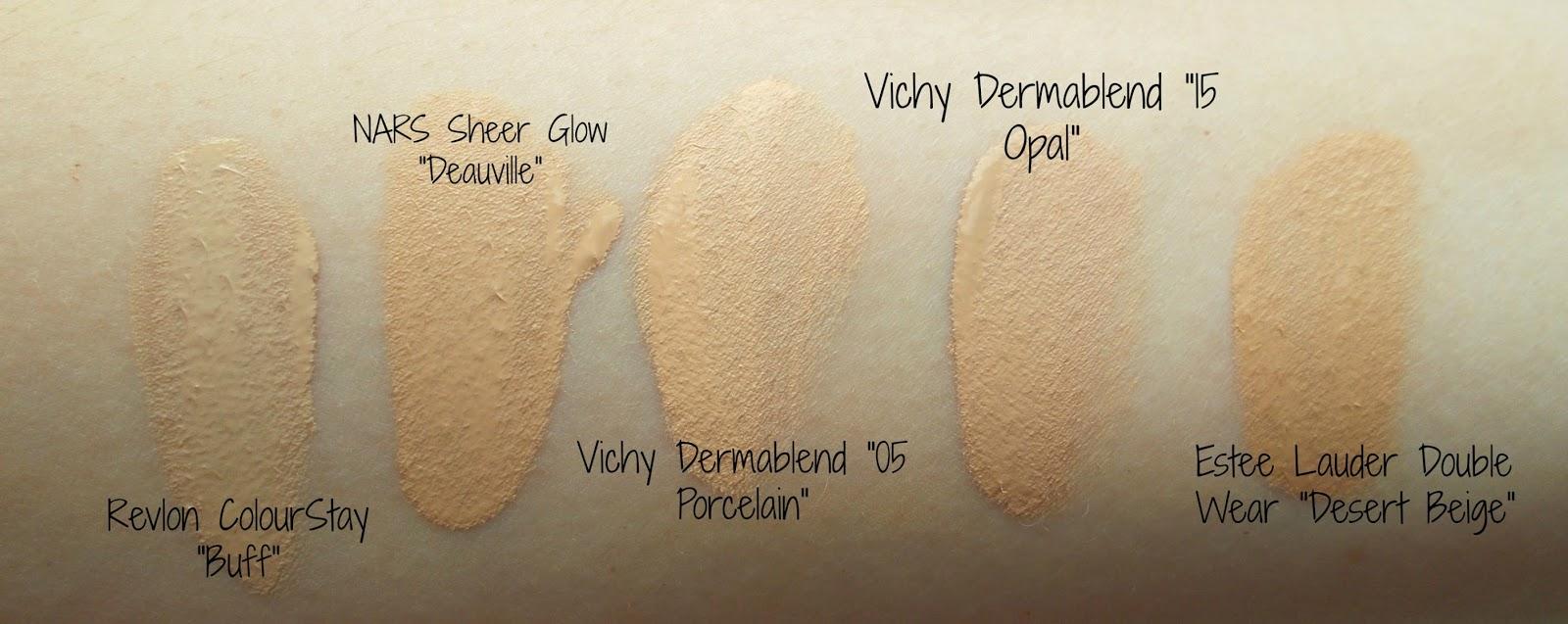 Vichy Dermablend 05 Porcelain 15 Opal foundation swatches NARS Revlon Estee Lauder