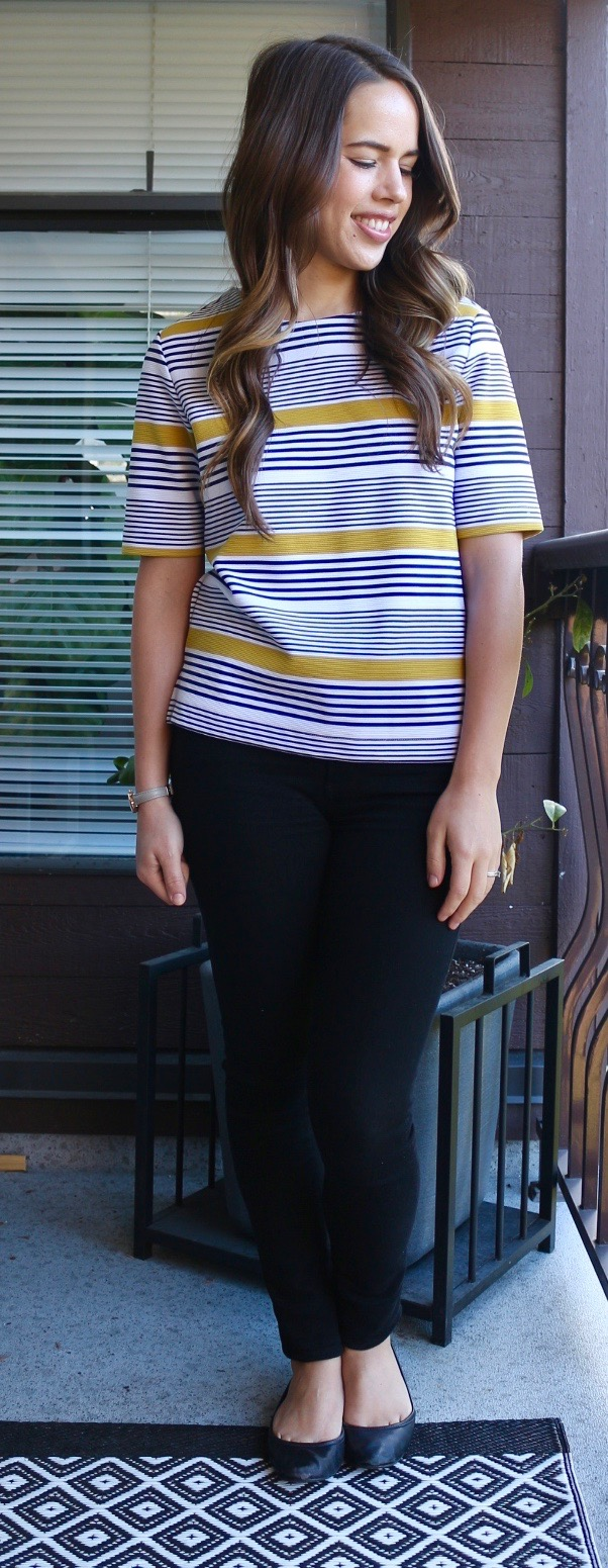 Jules in Flats - Old Navy Boxy Striped Top + Citizens of Humanity Rocket High Rise Jeans (Casual Friday Outfit)