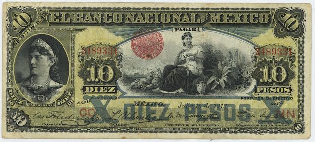 Mexican banknotes 10 Pesos banknote Banco Nacional de México