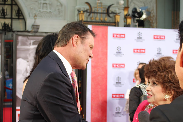 Chris Lemmon and Gina Lollobrigida at the 2016 TCM Classic Film Festival Red Carpet