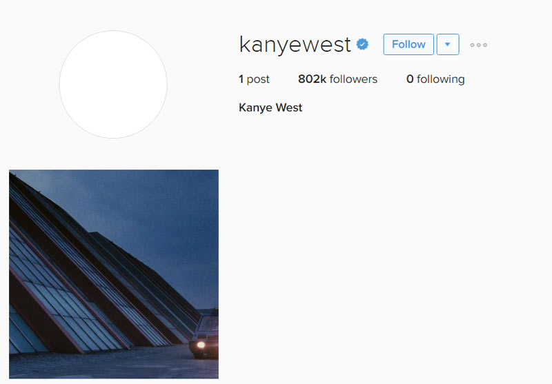 Kanye West finally accepts Instagram but doesn't follow anyone