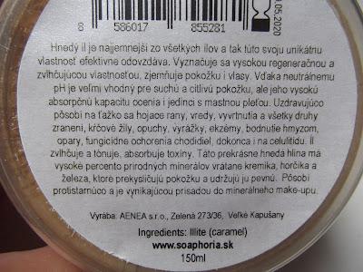 bulharský hnedý íl Soaphoria zloženie
