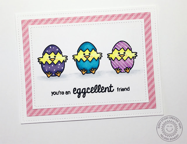 Sunny Studio You're An Eggcellent Friend Baby Chick Easter card by Melissa Bowden (using A Good Egg Stamps)