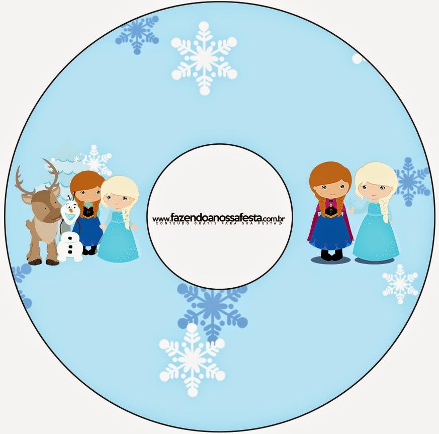 Etiqueta CD´s para Imprimir Gratis de Frozen Niñas para Navidad Azul.