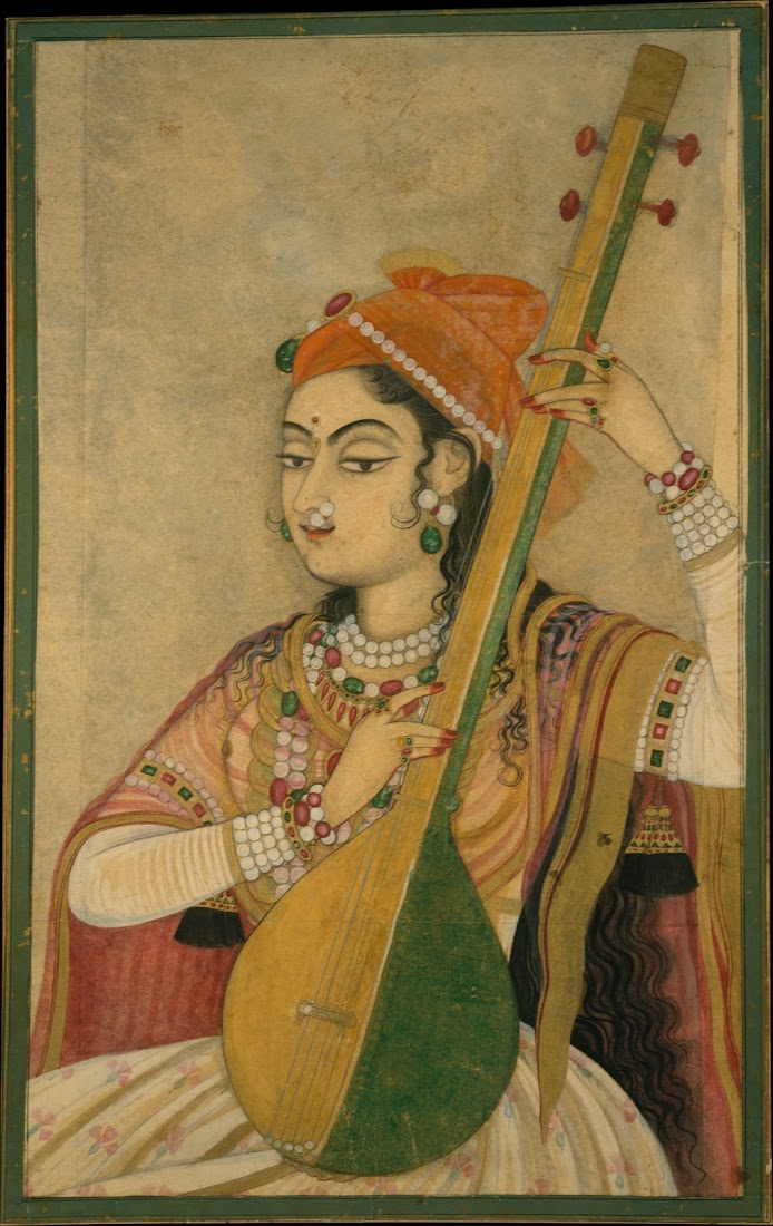 A Lady Playing the Tanpura - Rajput Painting, Kishangarh c1735