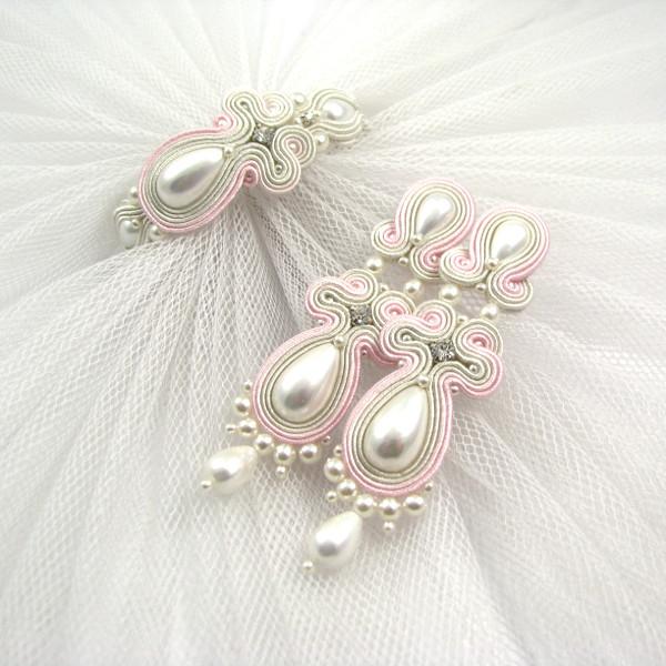 Komplet ślubny sutasz z perłami - bier ivory i pastelowy róż.