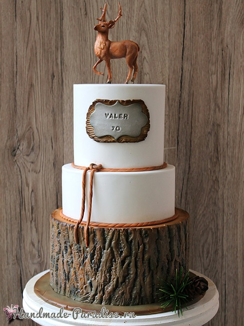 3D торт лесной тематики из сахарной мастики (9)