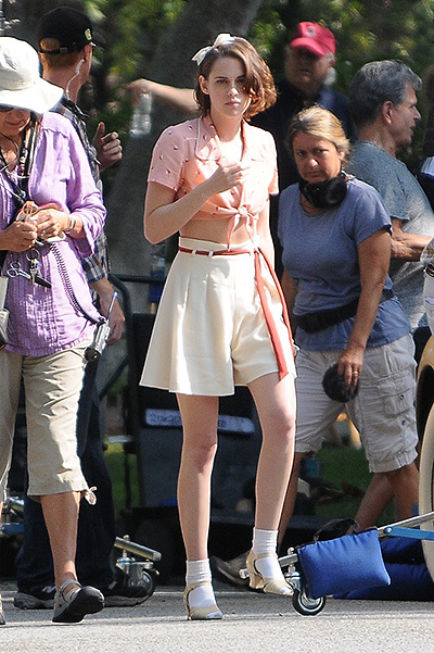 Kristen Stewart  on the set of Woody Allen's new movie