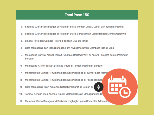 Sitemap (Daftar Isi) Blogger di Halaman Statis Hanya Judul Saja