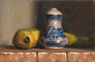 Oil painting of a blue and white salt shaker next to a banana.