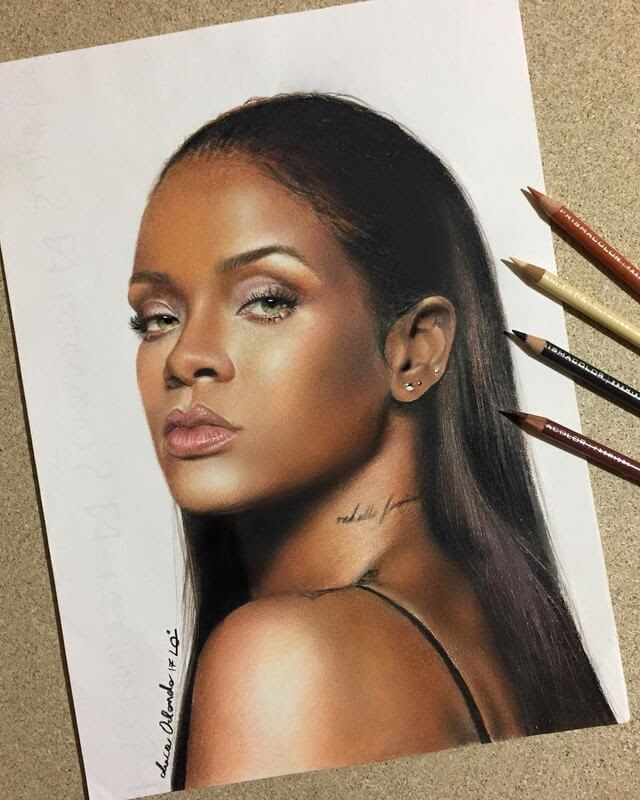 02-Rihanna-Luca-Orlando-Celebrity-Drawn-with-Colored-Pencils-www-designstack-co