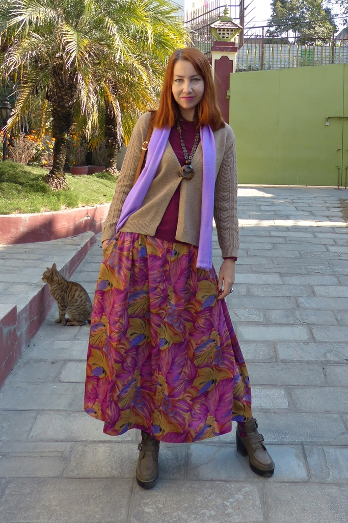 Casual outfit with floral maxi skirt and cardigan