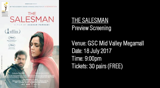 Free Screening: THE SALESMAN @ GSC Mid Valley, 18 July 2017