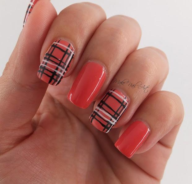 make nail art easy autumn plaid
