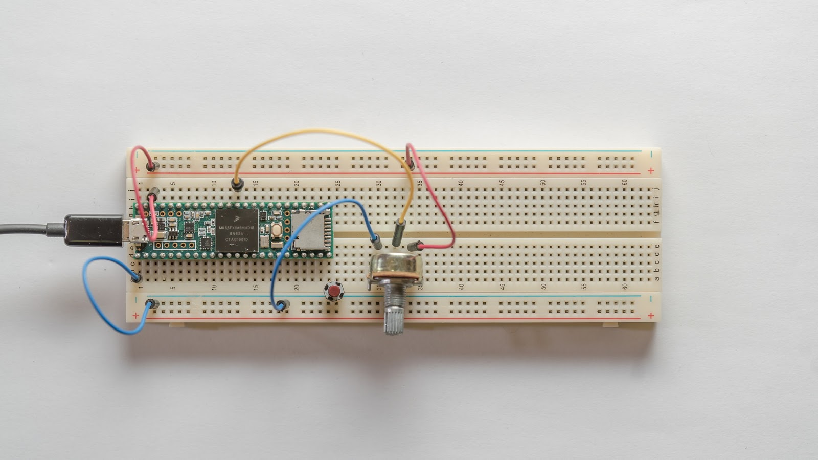 Little Scale Teensy 36 Basics Sending Pitchbends Basic Circuit Bending Tutorial Example 1 Pitchbend Data In This The Value Is Sent Based On Potentiometer And Push Button Sends Note Off