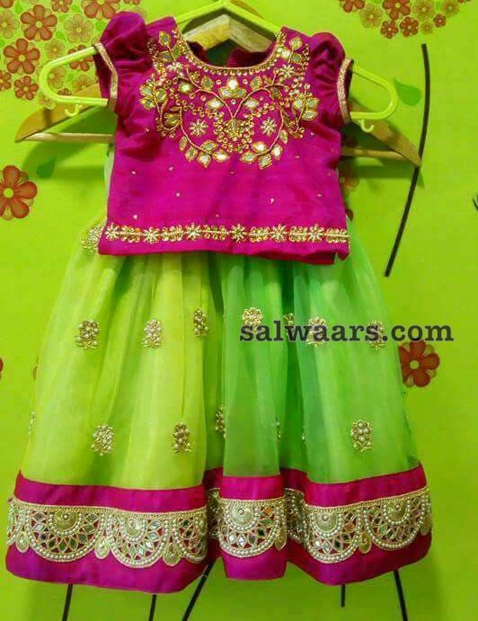 Pink Mirror Work Blouse and Lehenga