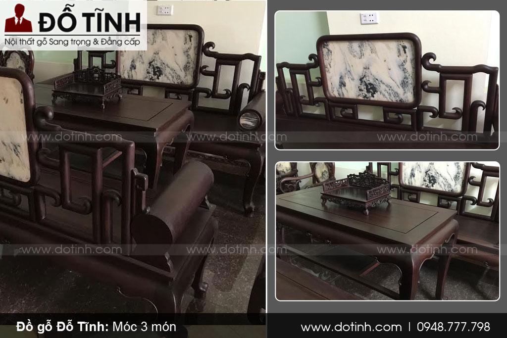 Bộ bàn ghế móc mỏ 3 món gỗ gụ đẹp cho phòng khách