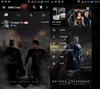 BBM MOD Superman VS Batmanv3.0.0.18 APK Clone Terbaru 2016