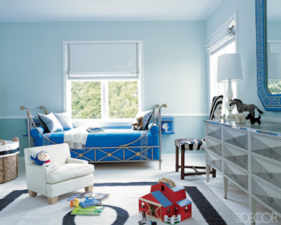 reed krakoff children room with blue iron bed