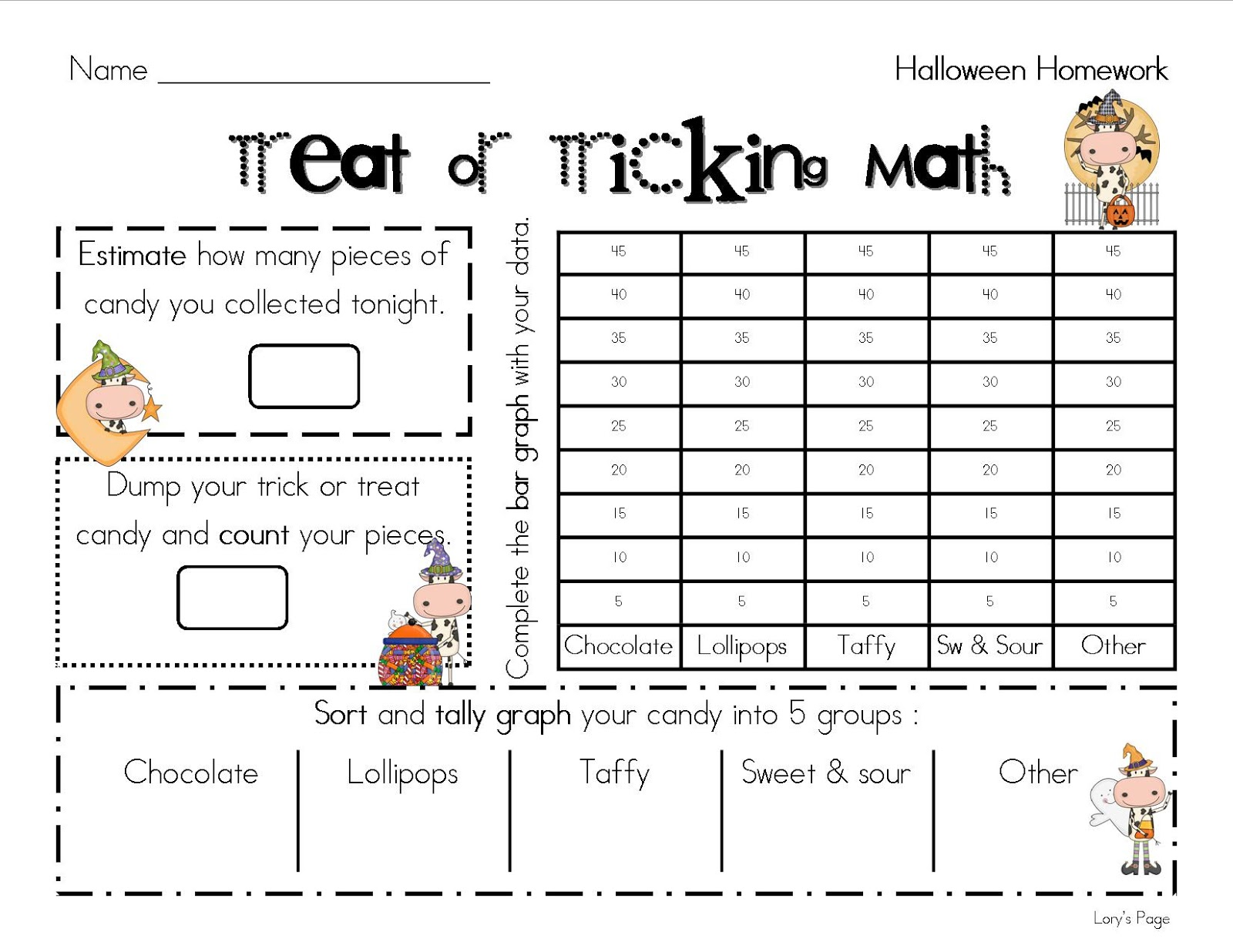 Lory S 2nd Grade Skills Trick Or Treating Math