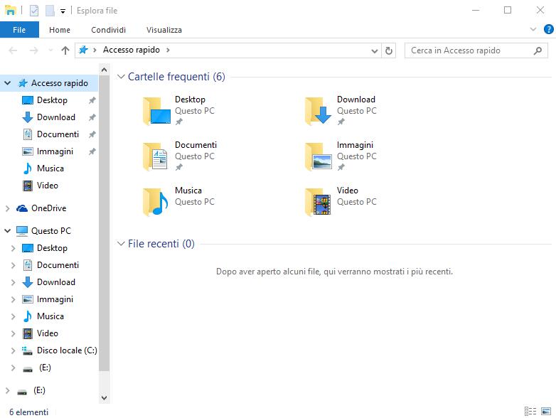 Windows 10, disco rimovibile riportato 2 volte nel Navigation Pane