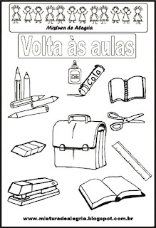 Objetos escolares para colorir