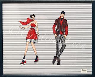 Ilustración pareja azul, blanco y rojo. Tamaño marco 52X42
