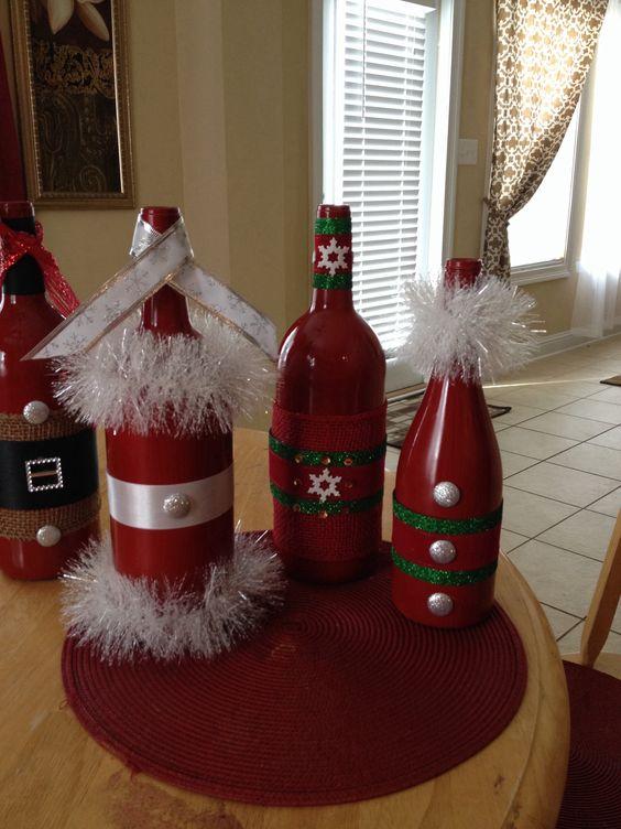 26 ideias de artesanato natal com reciclagem de garrafas for Bandejas de navidad