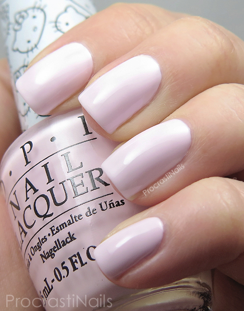 Swatch of the pale pink nail polish OPI Let's Be Friends!