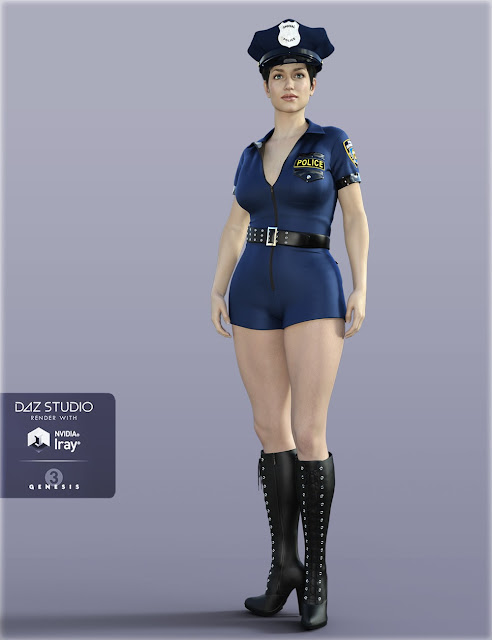 H-C Sexy Police Costume for Genesis 3 Female