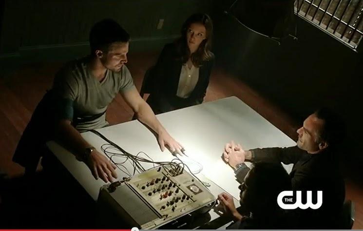 Arrow Damaged Season 1 recaps screencaps Oliver Queen Laurel Lance Detective lie detctor test arrest photos