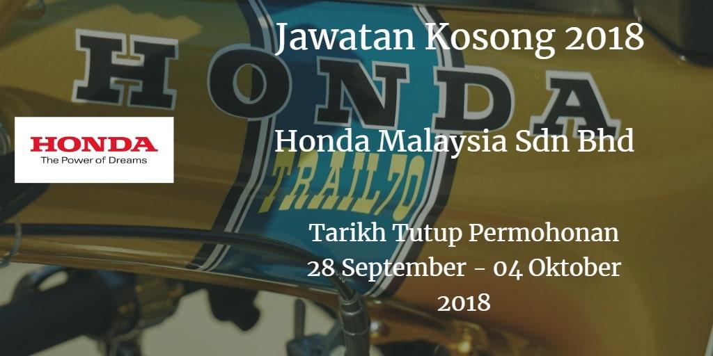 Jawatan Kosong Honda Malaysia Sdn Bhd  28 September - 04 Oktober 2018