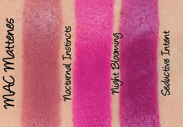 MAC MONDAY   Taste Temptation - Nocturnal Instincts, Night Blooming and Seductive Intent Mattenes Swatches & Review