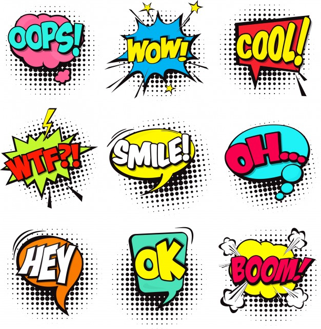 Set of colorful comic speech bubbles Free Vector