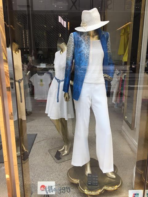 Window display at one of myriads of Ginza fashion shops
