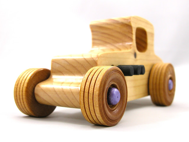 Wooden Toy Car - Hot Rod Freaky Ford - 1927 Ford Coupe - Model-T - Satin Polyurethane - Amber Shellac - Purple - Black - Pine - NIKON E5700