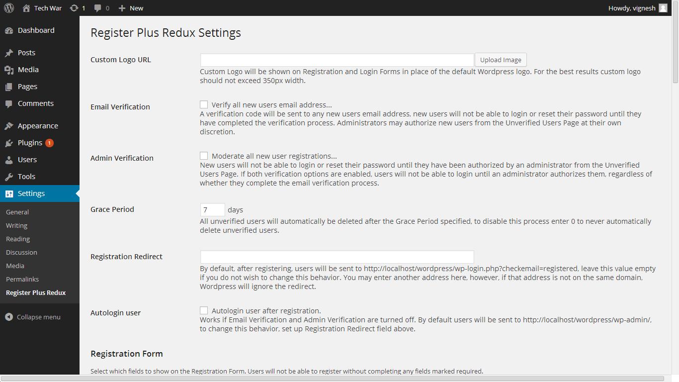 Replace Wordpress Logo, Make Email address as username, Make custom register form & more in single Plugin 1