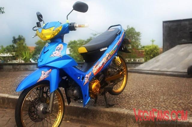 Modifikasi Vega R New Biru Modif Standar Velg Orange