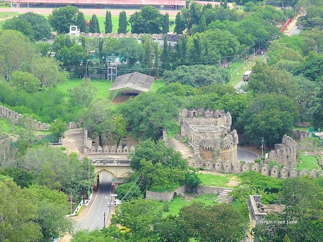 Top view of way to arrive Golkonda Fort, Hyderabad