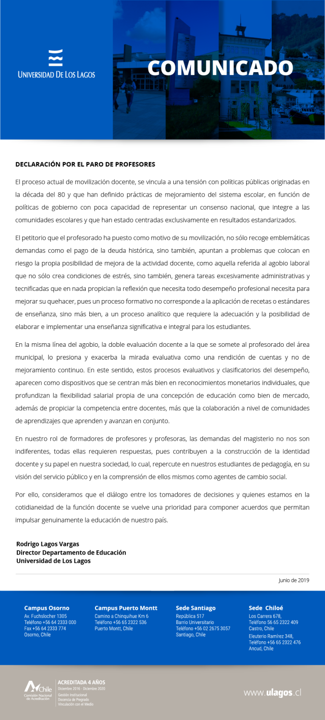 Comunicado de prensa de la ULagos por el paro de profesores