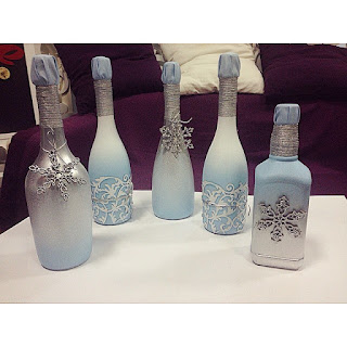 K'Mich Weddings - wedding planning - wedding frosted bottles with ornaments