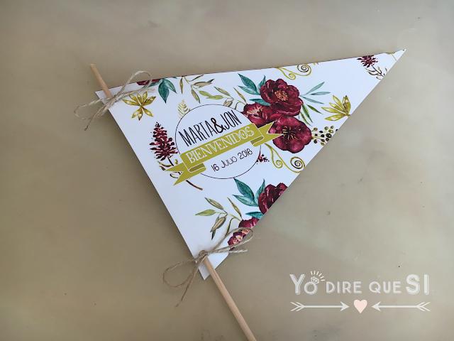 Programa de ceremonia en forma de banderín para tu boda. Tutorial y plantilla descargable.