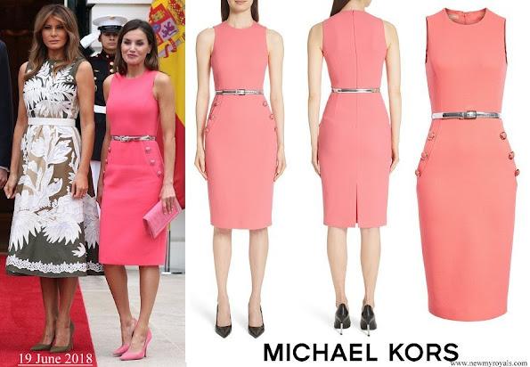 Queen Letizia wore MICHAEL KORS Button Detail Stretch Wool Dress
