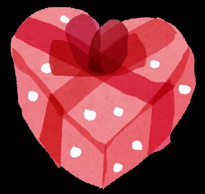 バレンタインのイラスト「ハートの入れ物・リボン付き」