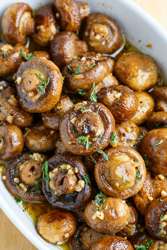 Roasted Mushrooms in a Browned Butter, Garlic and Thyme Sauce