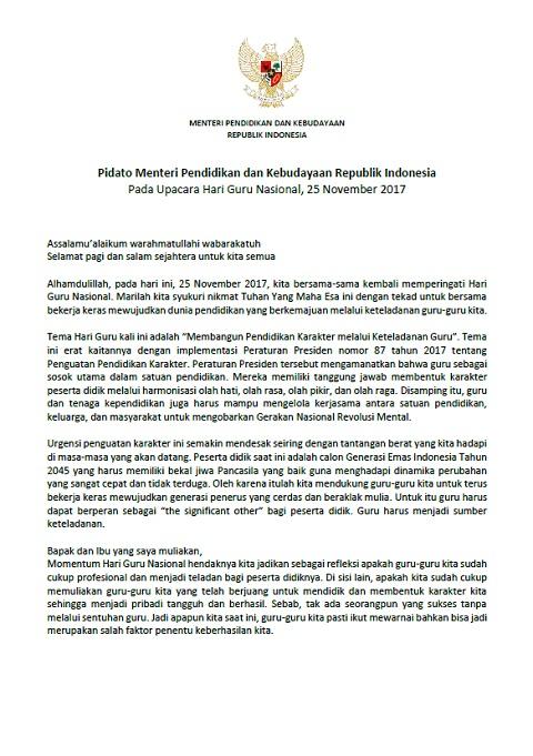 Naskah Sambutan / Pidato Mendikbud Pada Upacara Hari Guru Nasional (HGN) 2017
