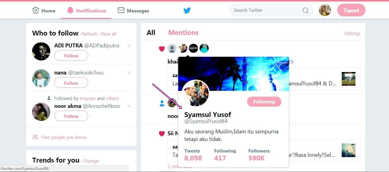 Syamsul Yusof like tweet saya di Twitter!