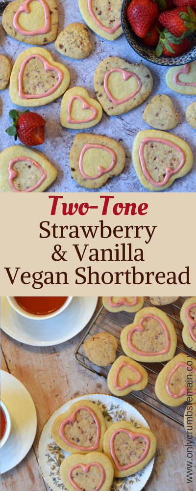 How to make two-tone vegan shortbread biscuits.  These are flavoured with vanilla and strawberry, and their heart shape makes them perfect for Valentine's Day.