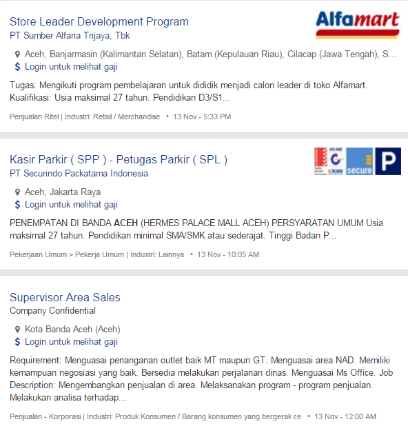 Bulan Ini – Lowongan Kerja Aceh Singkil Terbaru 2019